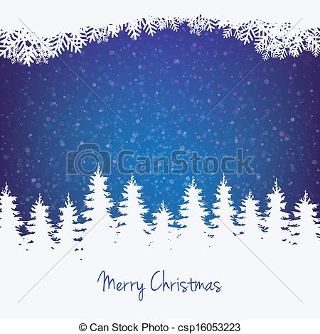 Vector Illustration of winter background tree stars and snow.