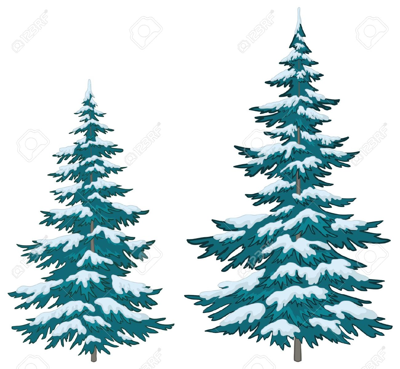 Evergreen trees in snow silhouette clipart.