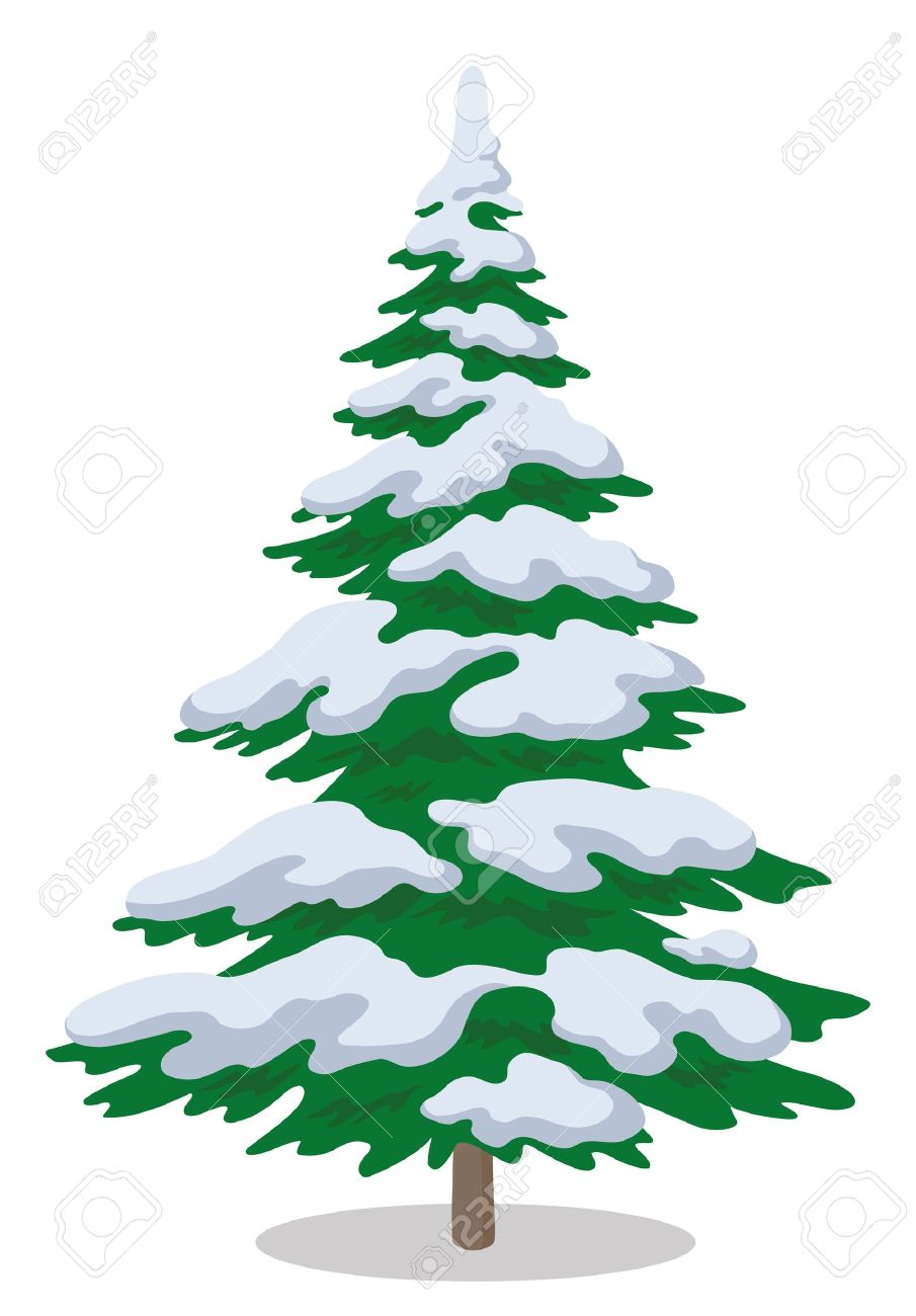 Snowy evergreen tree clipart.