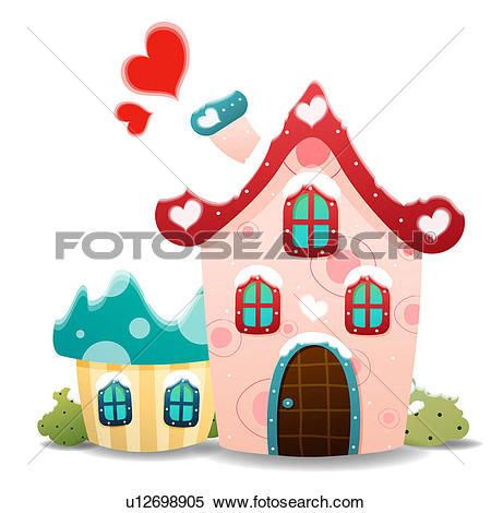 Clipart of Snow covered houses u12698905.
