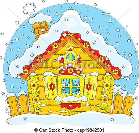 Vector Clipart of Small log hut in snow.