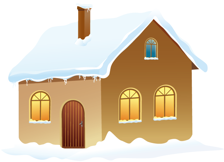 Winter House with Snow PNG Picture.