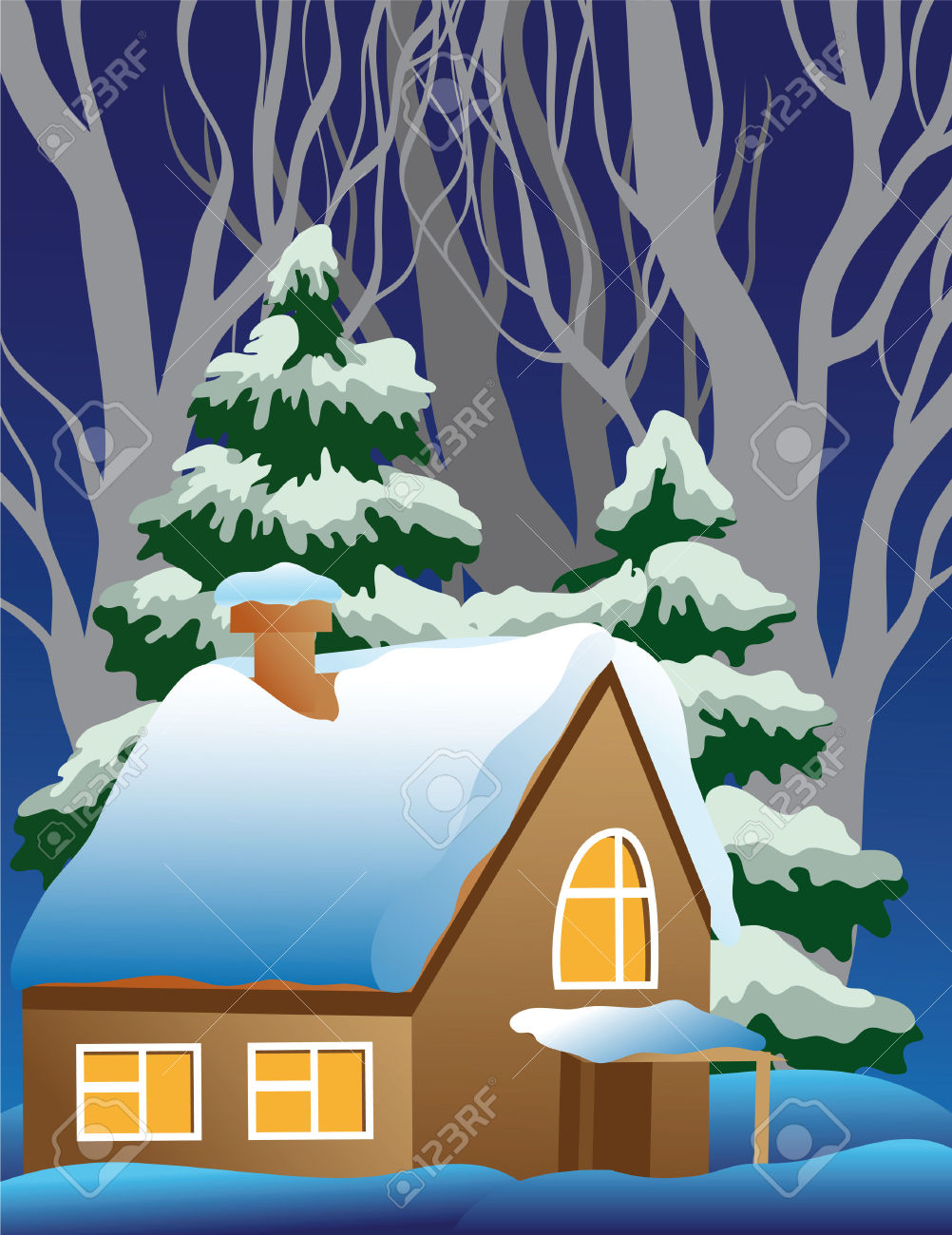 Showing post & media for Snow covered house cartoon.