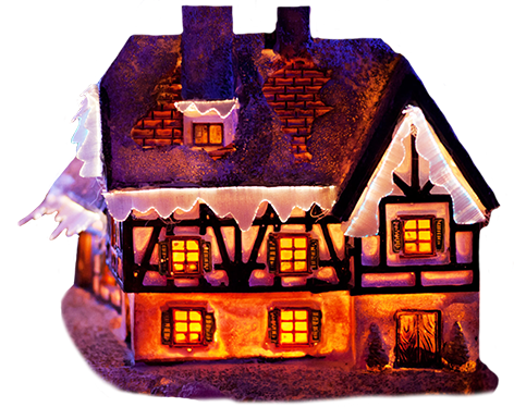 Snow covered house clipart.
