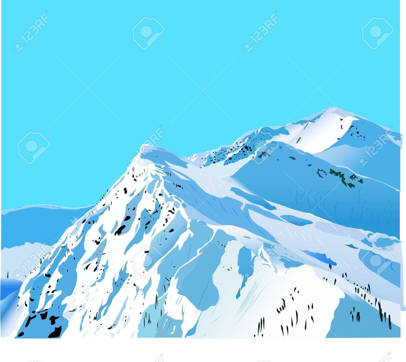 Snow Covered Mountain Clipart.