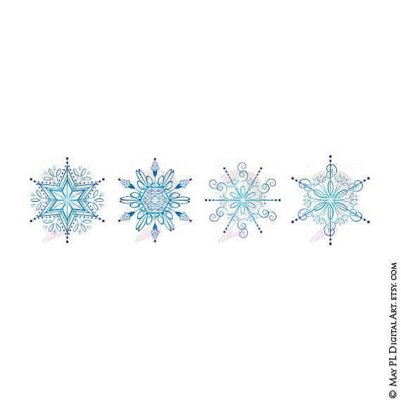 Snowflakes Christmas Clipart Xmas Graphics Gorgeous Illustration.