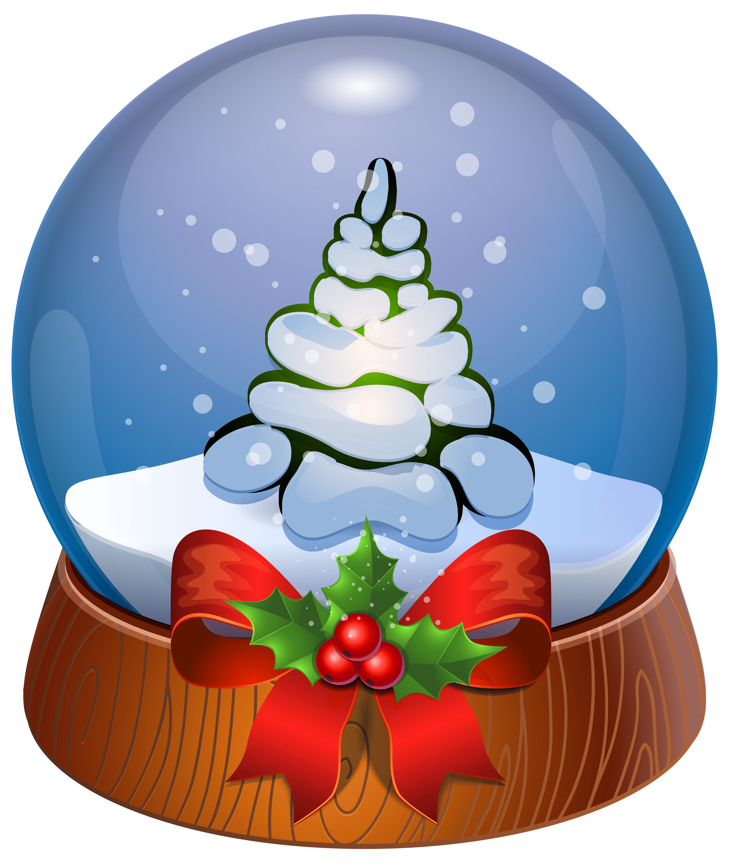 Christmas Tree Snow Globe Transparent PNG Clip Art Image.