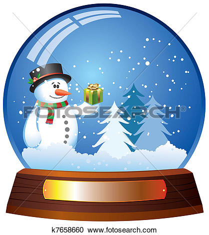 Stock Illustrations of Glass dome snow globe and snowman k5108870.