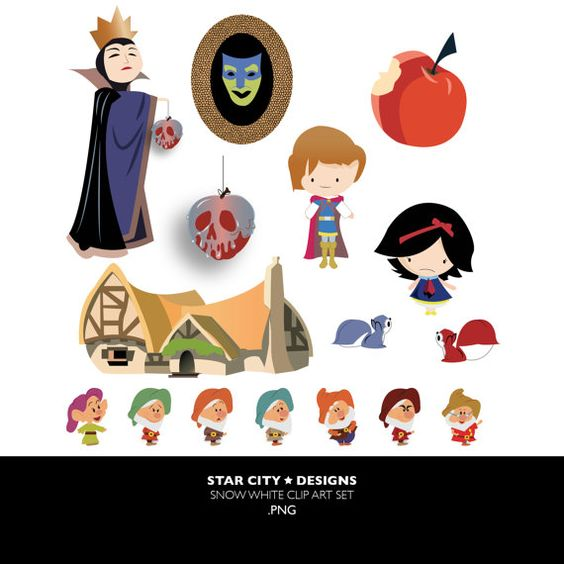 Snow White clipart, poison apple clipart, cottage clipart, dwarf.