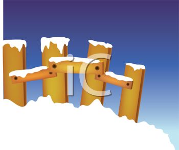 Royalty Free Clipart Image: Wooden Fence in the Snow.