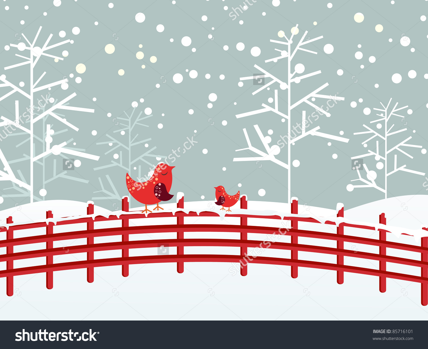 Snow Fall Dry Tree Background Cute Stock Vector 85716101.