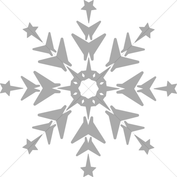 Grayscale Snowflake Clipart.