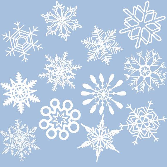 12 Snowflakes Winter White Snow Digital Clip Art by aprilhovjacky.