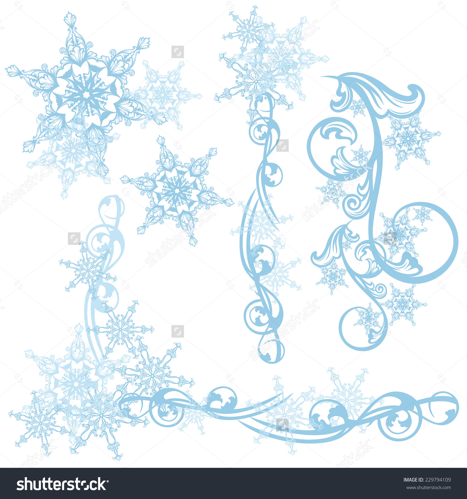 Snowflakes Decorative Vector Design Elements.