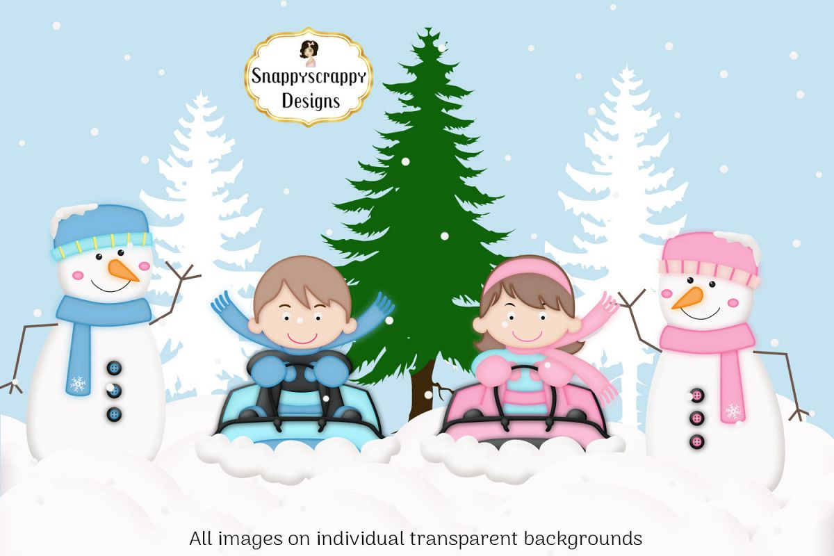 Christmas Winter Snow Fun Clipart.