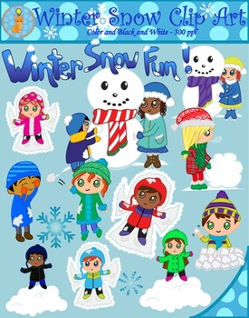 Winter Snow Fun Clipart (Blacklines included).