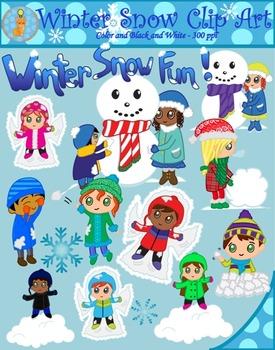 Winter Snow Fun Clipart (Blacklines included).