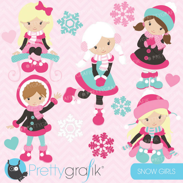 Snow Girls Clipart features little girls in winter clothes in.