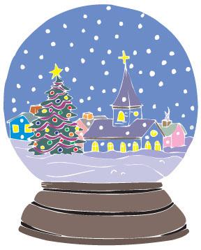 Cute Christmas Snow Globe Clipart.