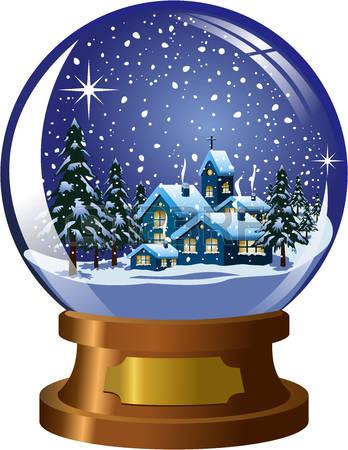 Christmas snow globe clipart.