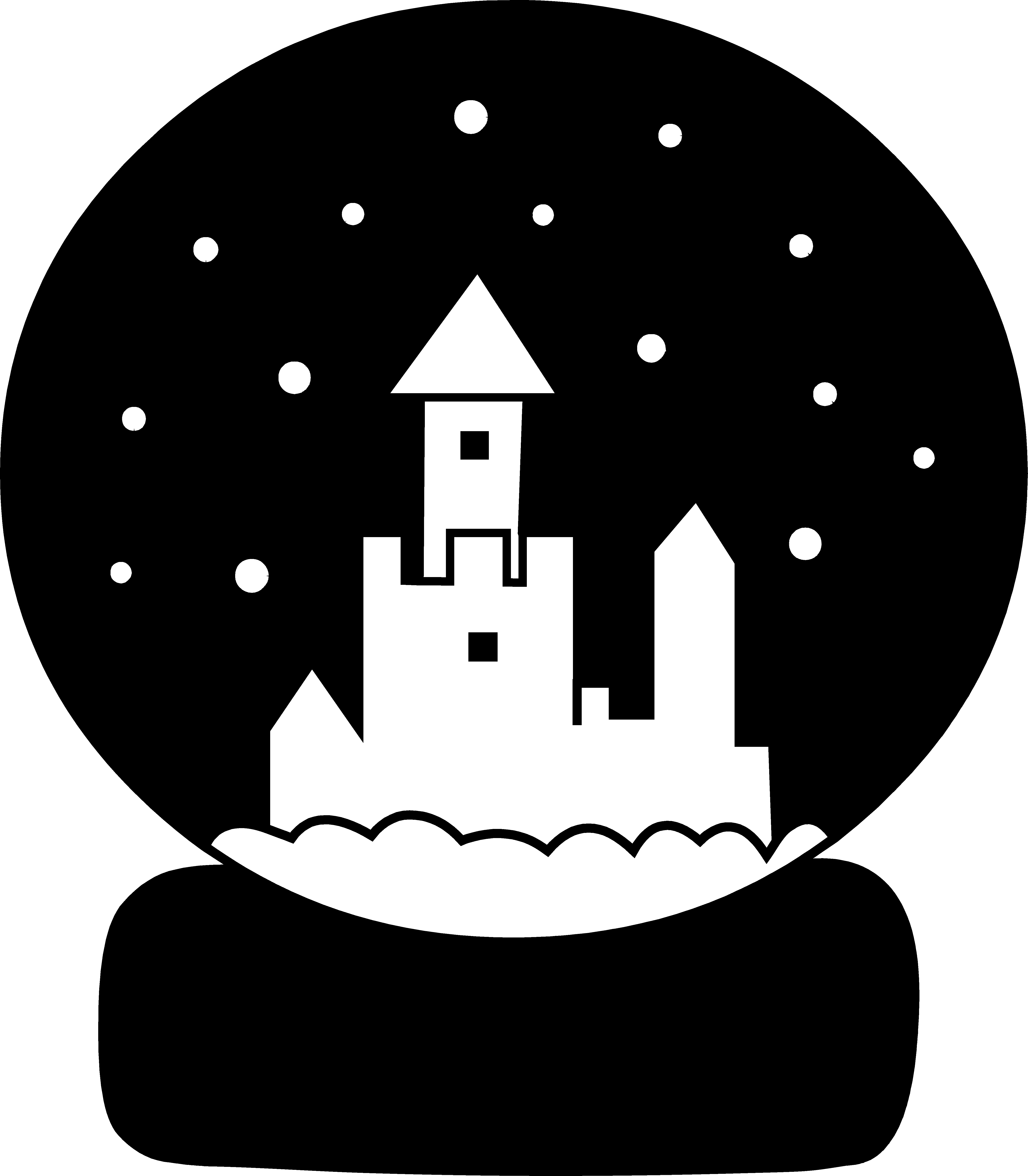 snow globe clipart black and white