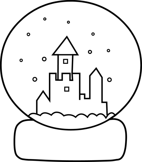 Cute Snow Globe Coloring Page.