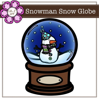 Snowman Snow Globe digital clipart (color and black&white).