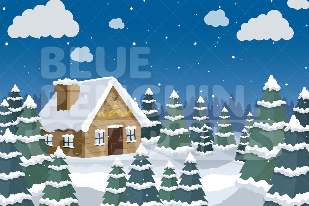 Small House In The Snow Graphic Background Clipart — Blue.