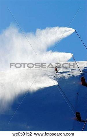 Stock Photo of Snow guns. La Molina, Cerdanya. Girona province.