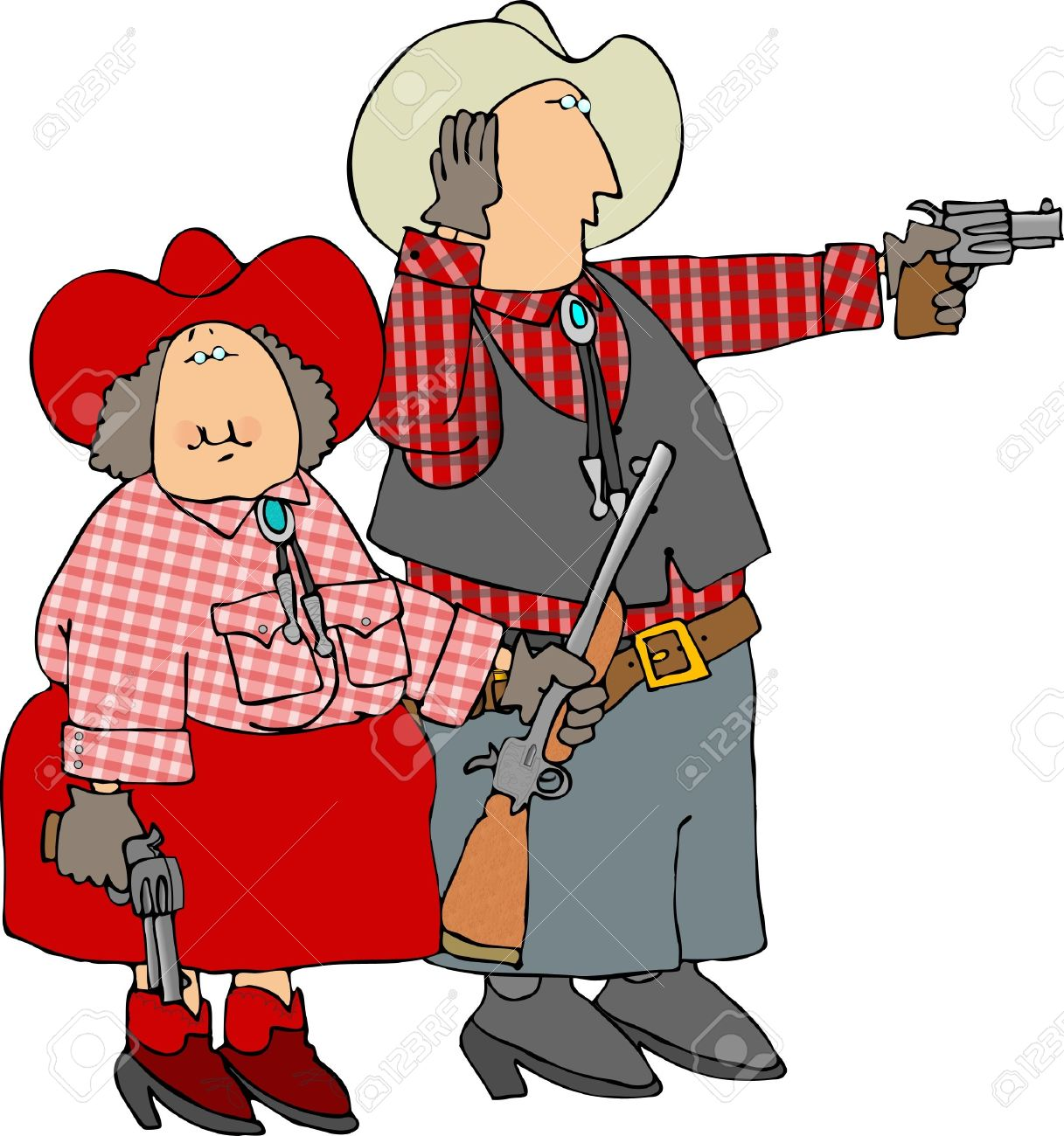 Man & Woman Shooting Guns Stock Photo, Picture And Royalty Free.