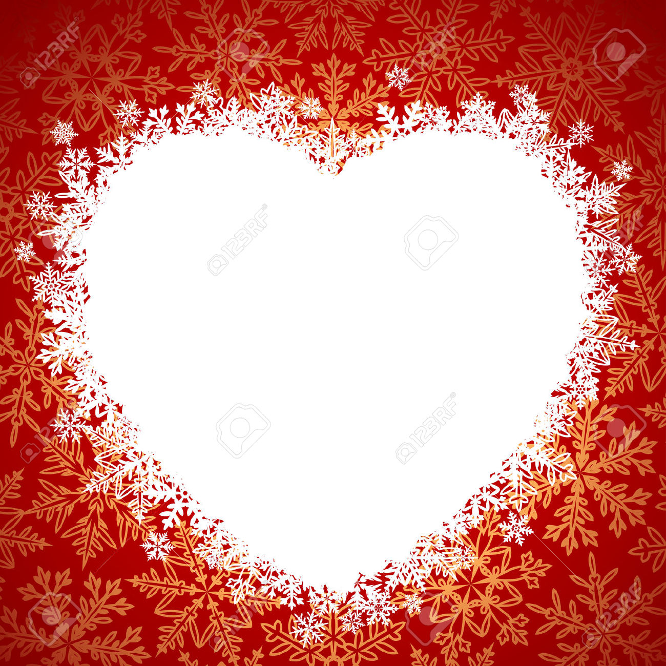Snow Frame In The Shape Of Heart Royalty Free Cliparts, Vectors.