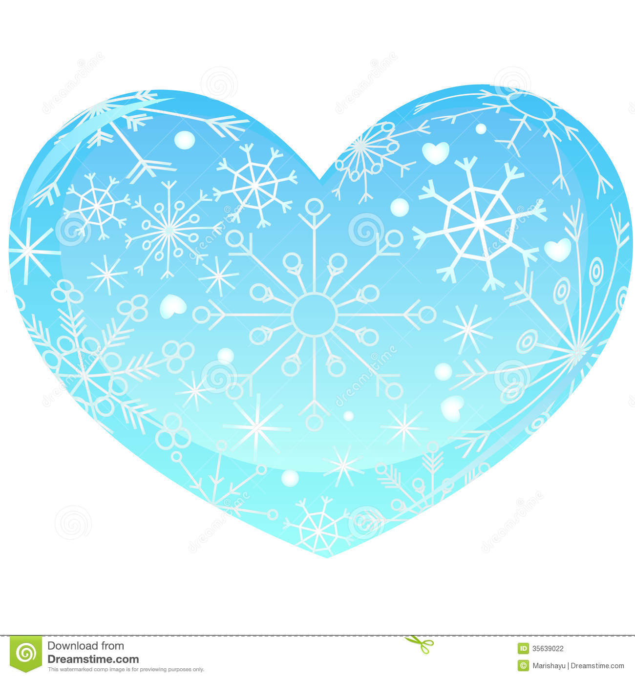 Heart With Snowflakes Stock Photography.