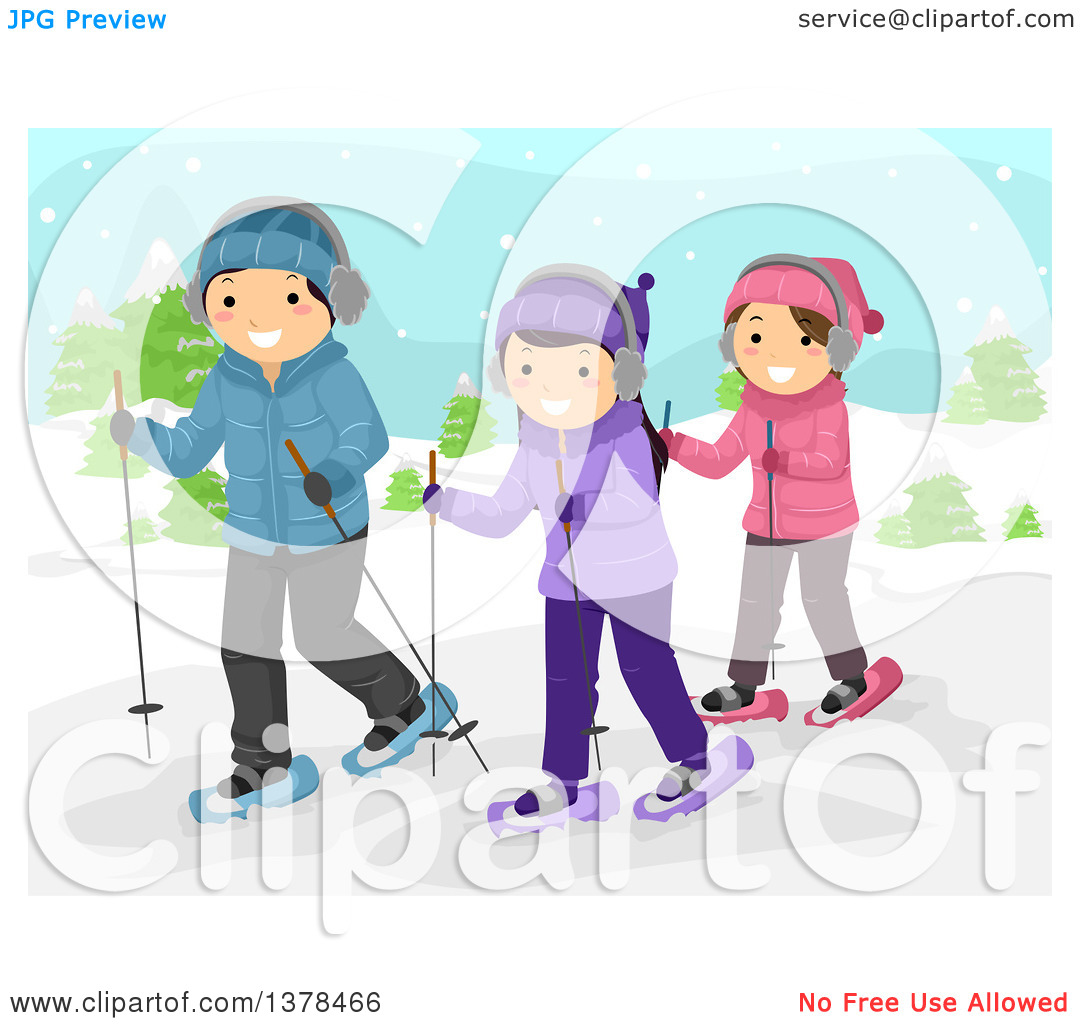 Clipart of a Group of Happy Teenagers Snow Walking.