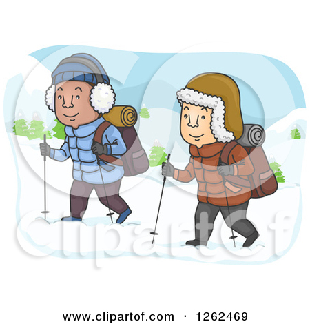 Clipart of Men Hiking in the Snow.