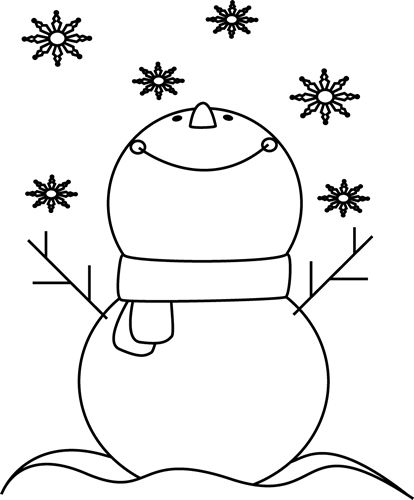 House Clip Art Black and White with Snow Falling.