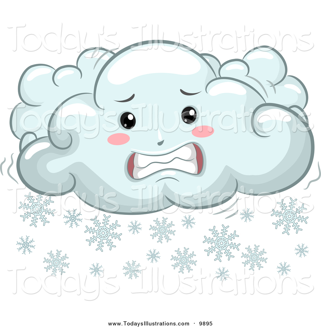 Clipart of a Cold Shivering Snow Cloud by BNP Design Studio.