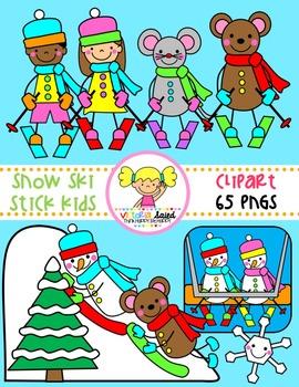 Snow Ski Stick Kids Clipart.