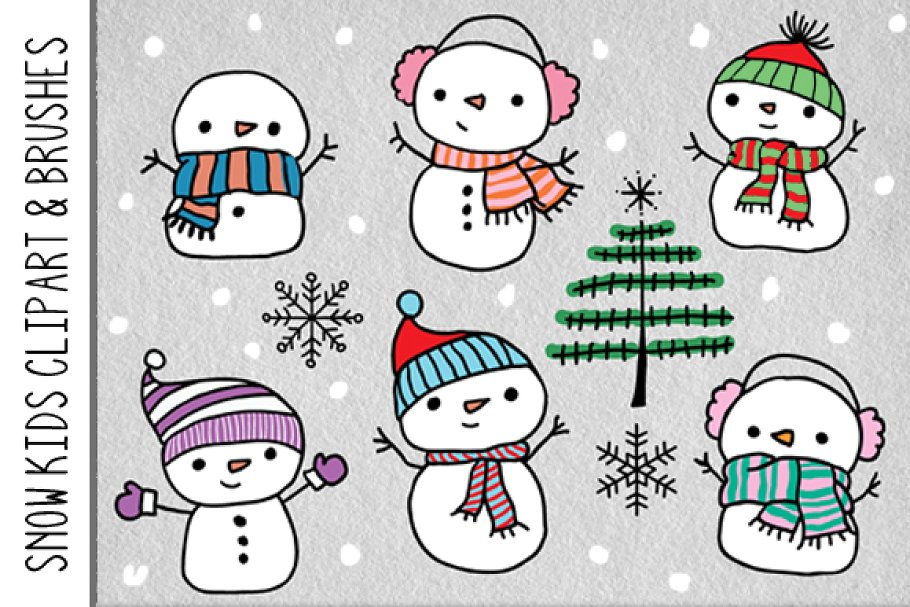 Snow Kids Clipart & Brushes.