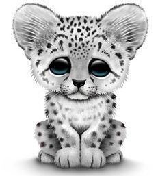 Baby snow leopard clipart.