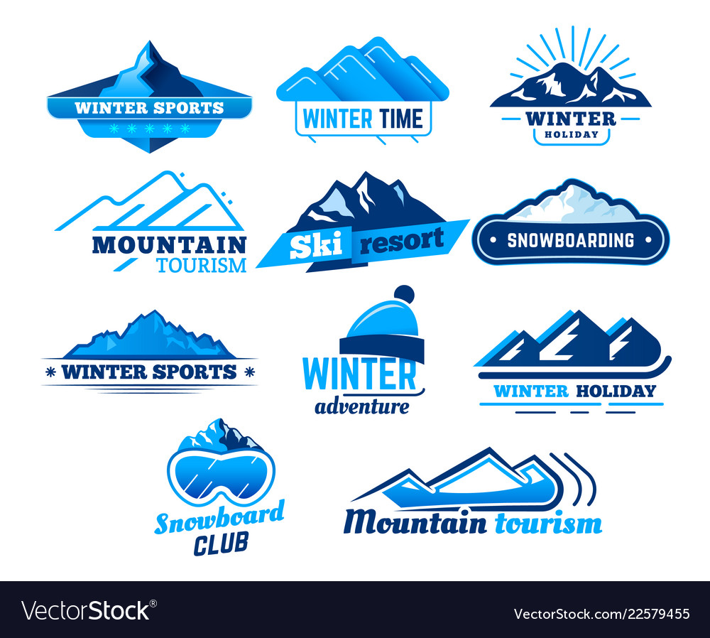 Snow mountain sign winter landscape logo.