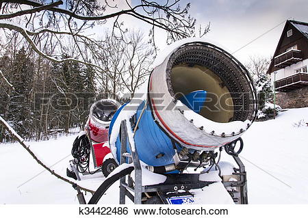 Stock Images of Snow making machine, cannon, blower, at ski resort.