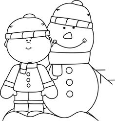 Black and White Snowman Catching Snowflakes Clip Art.