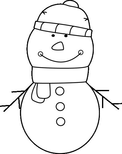 Black and White Snowman Clip Art.