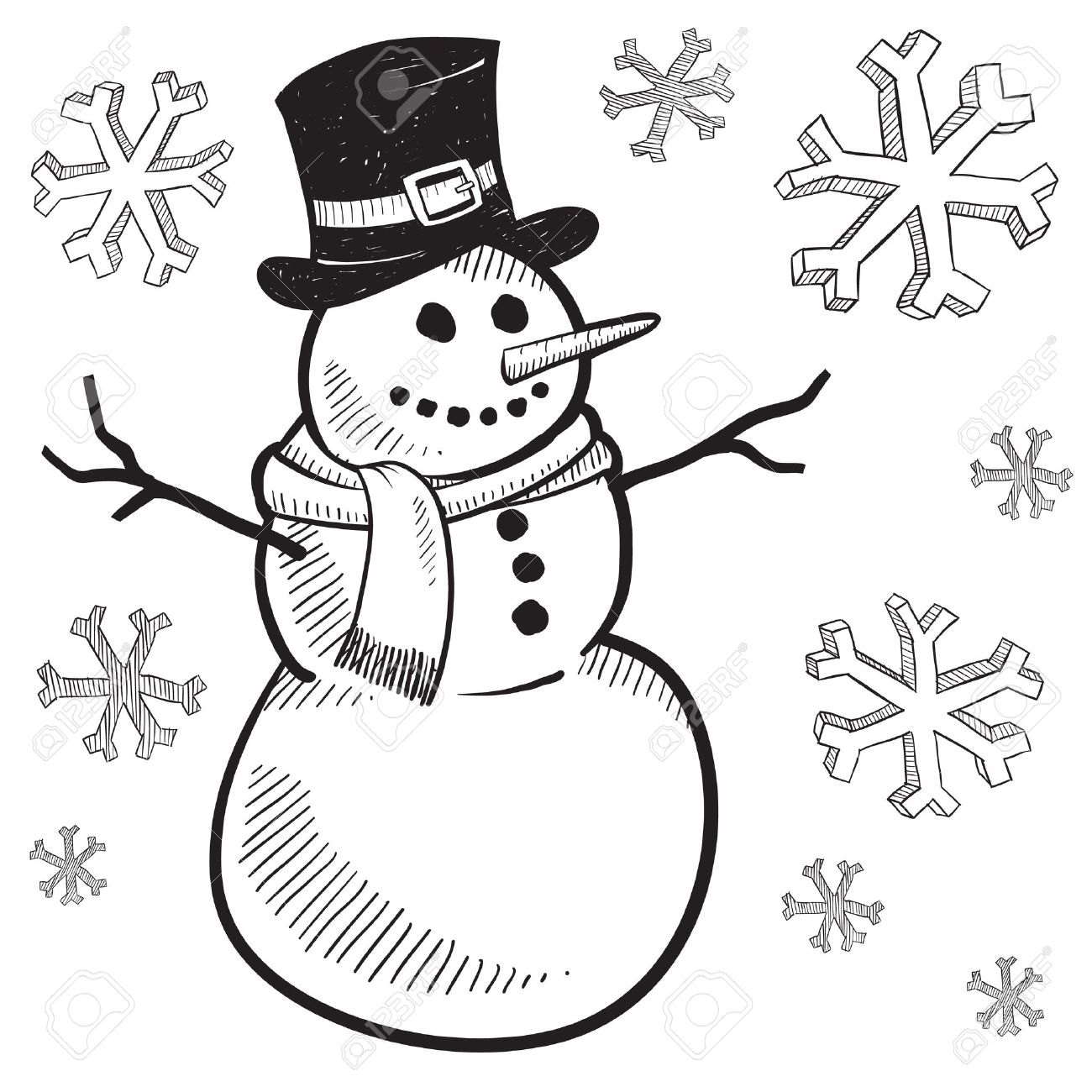Showing post & media for Black and white winter snowman cartoon.