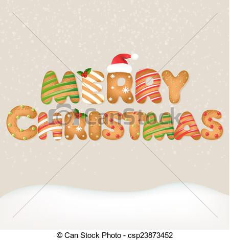 Clipart Vector of Snow With Christmas Text With Gradient Mesh.