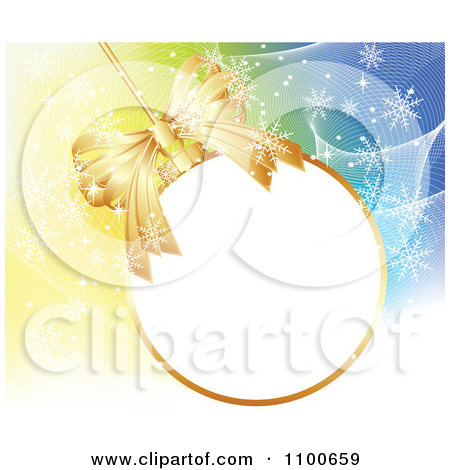Clipart Blue Merry Christmas Greeting And Tree Over Snow.