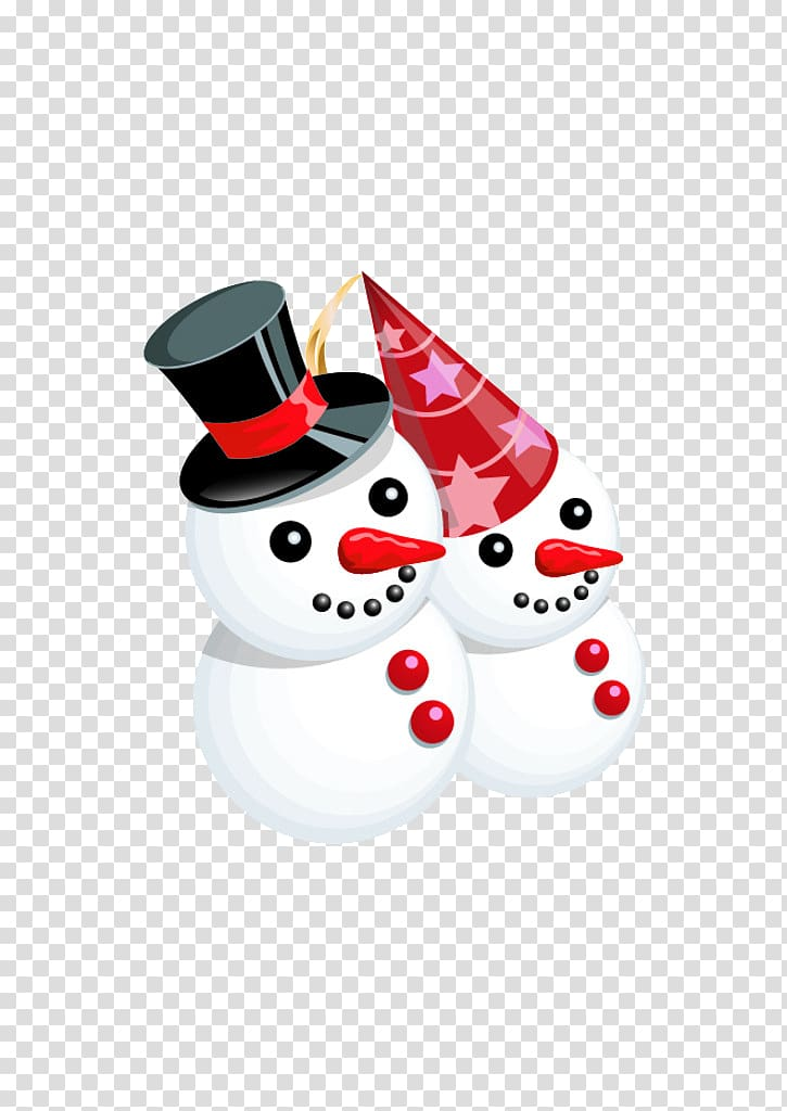 Snowman Christmas , Two snow people transparent background.