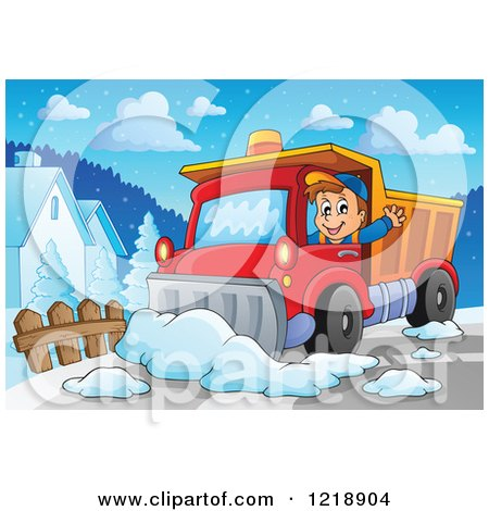 Clipart Snow Plow Truck On A Road In A Blue Oval With A Snowflake.