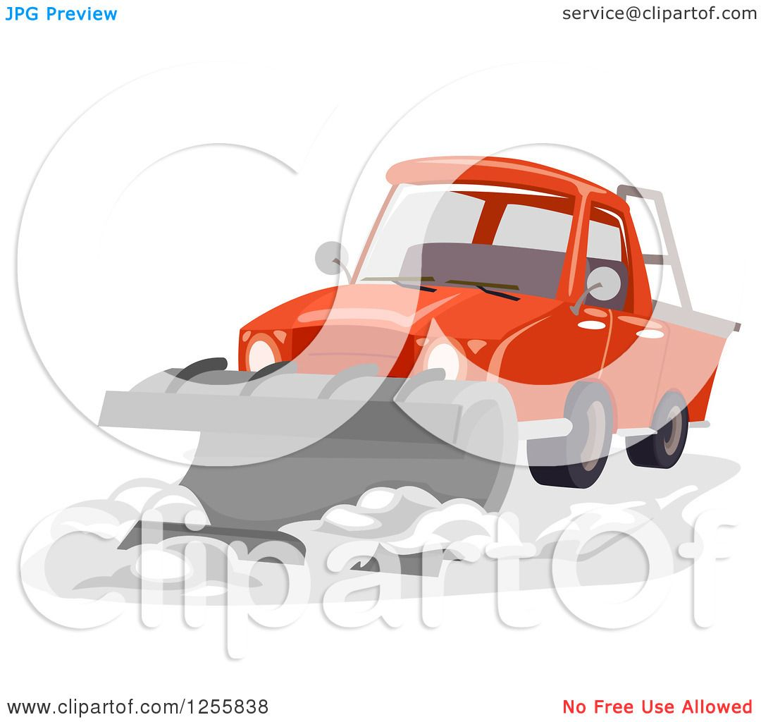 Clipart of a Truck with a Snow Plow.