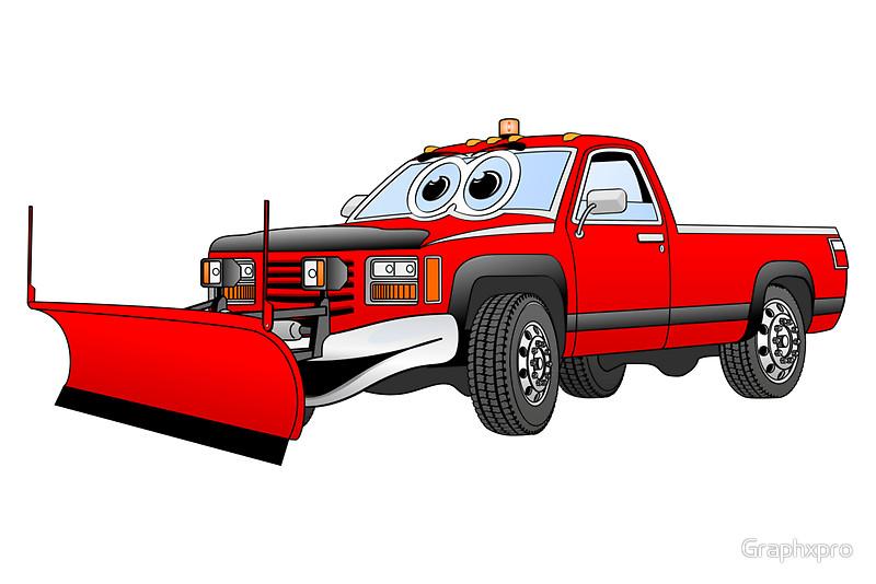 Red R Pick Up Truck Snow Plow Cartoon